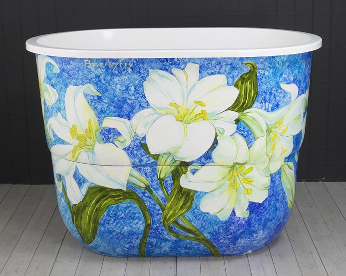 наружный декор ванны росписью красками